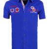 Korte mouw overhemd blauw heren Carisma met print rugby league 9002 voorkant