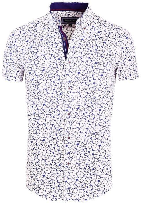 Korte mouw overhemd blauw met bloemen print heren Carisma 9108 (2)