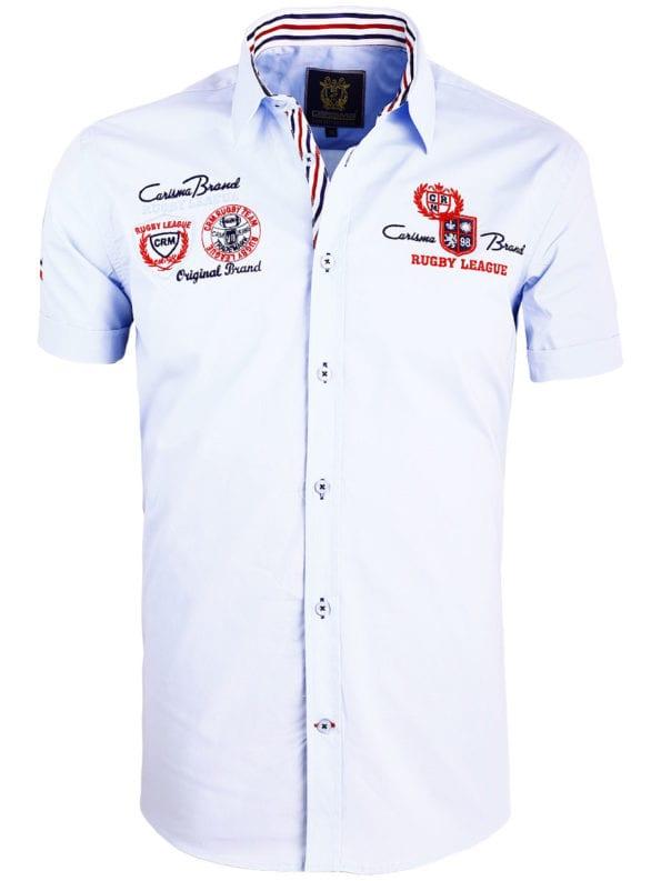 Korte mouw overhemd lichtblauw heren Carisma met print rugby league 9002 (2)