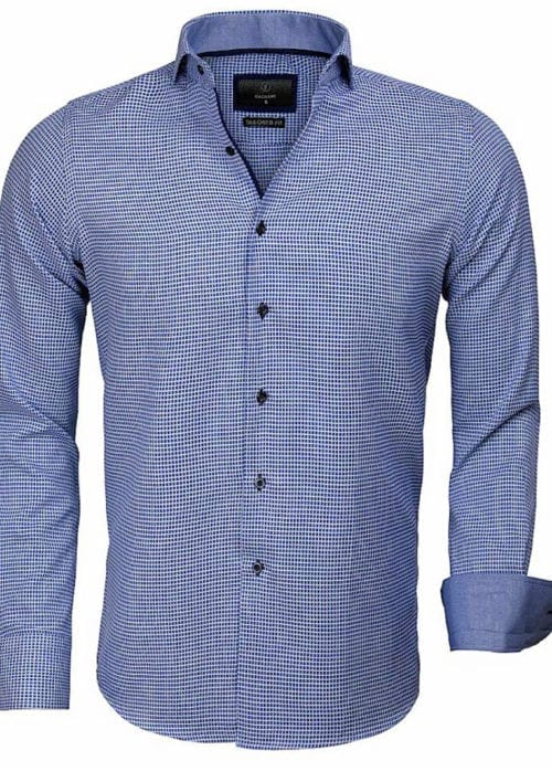 Gaznawi overhemd lange mouw tailored fit Arezzo Royal Blue 65024 voorkant