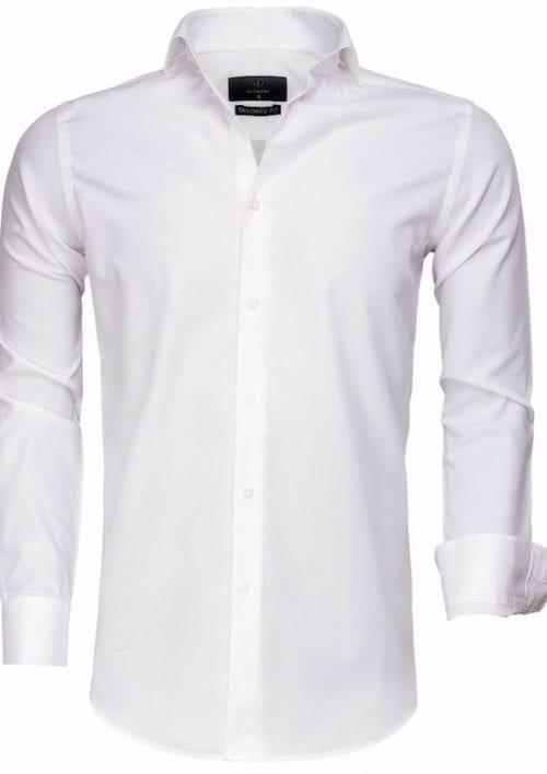 Gaznawi overhemd lange mouw tailored fit Bolzano white 65007 voorkant