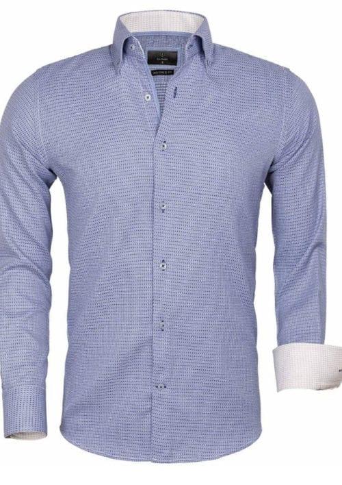 Gaznawi overhemd lange mouw tailored fit ancona navy 65021 voorkant