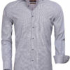 Gaznawi overhemd lange mouw tailored fit cagliari black white 65000