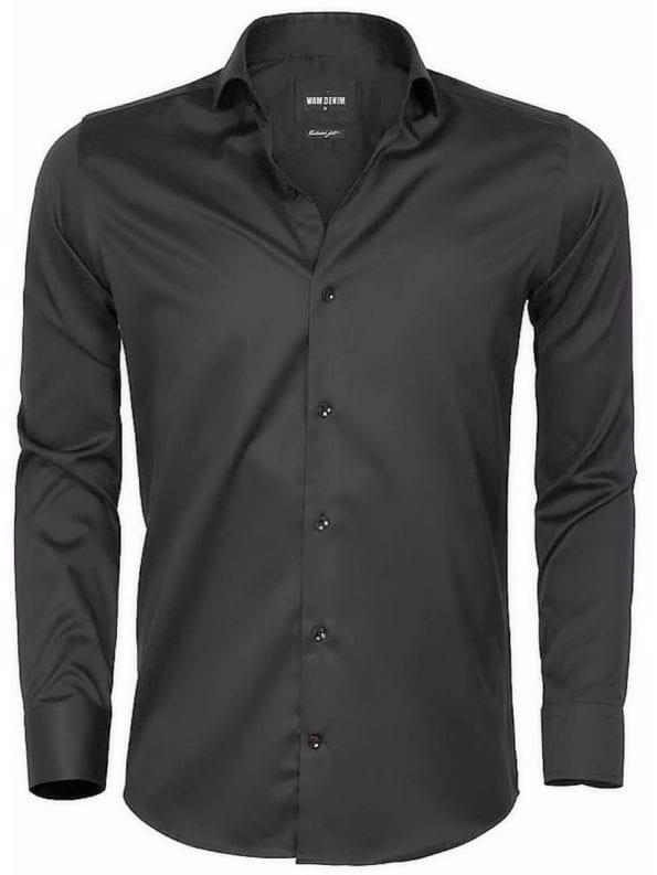 Gaznawi overhemd lange mouw tailored fit catanzaro black 65006 voorkant