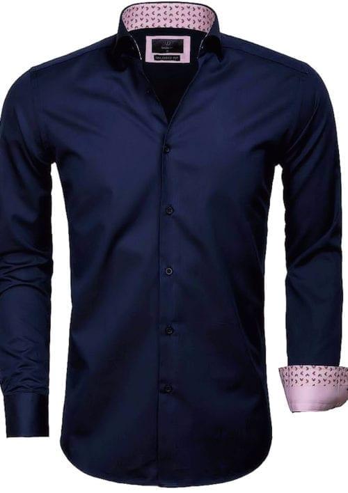 Gaznawi overhemd lange mouw tailored fit catanzaro navy 65006 voorkant