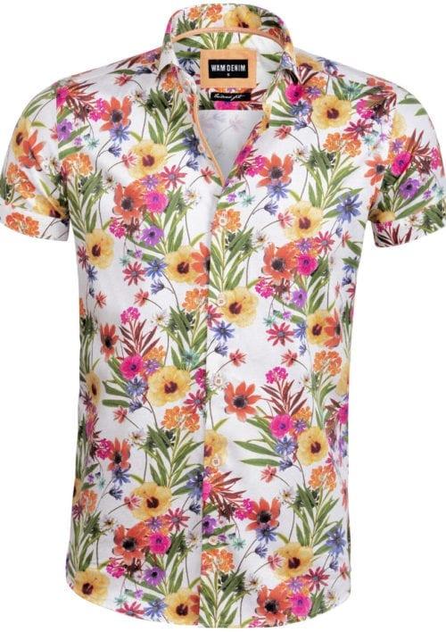 Wam Denim bloemenoverhemd wit korte mouw blouse Bath 75586 bendelli voorkant