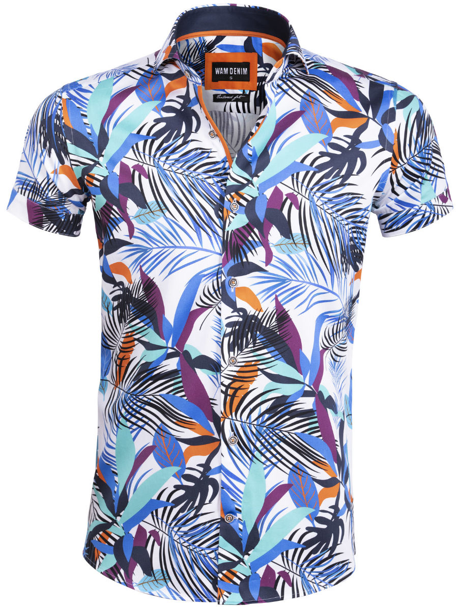 Bloemen Overhemd.Wam Denim Bloemen Overhemd Korte Mouw Wit 75583 Bendelli