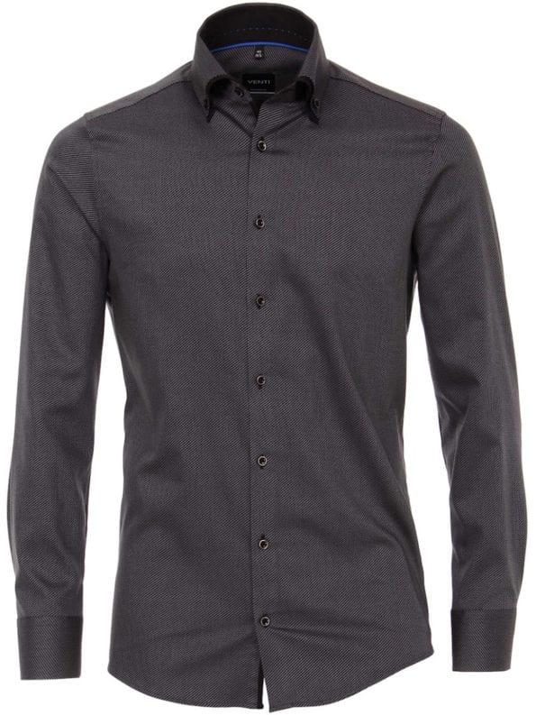 Venti overhemd zwart dubbele boord gewerkt modern fit Bendelli-193277400-800 (2)