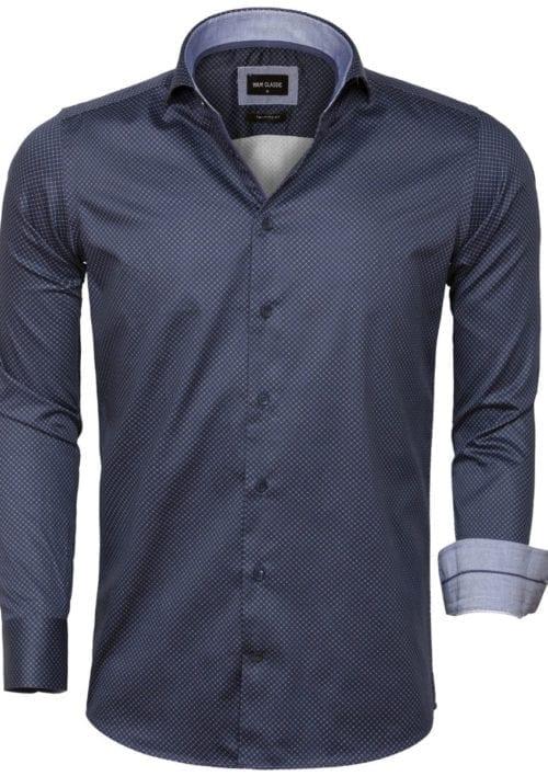 Wam Denim overhemd met motief Blouse Sevilla 75599 Navy voorkant