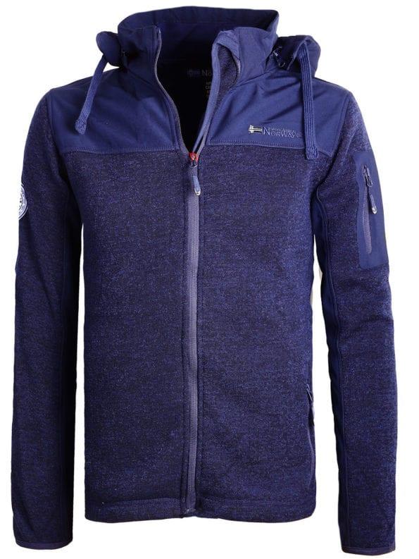 Geographical Norway vest of sweater blauw heren met afneembare capuchon Tjhon (2)